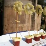 Piruleta de emmental con manzana y membrillo